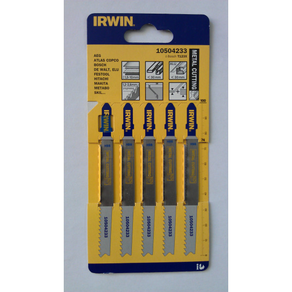 Пилка для лобзика по металлу IRWIN BJSB, 5шт T123X - Инсел