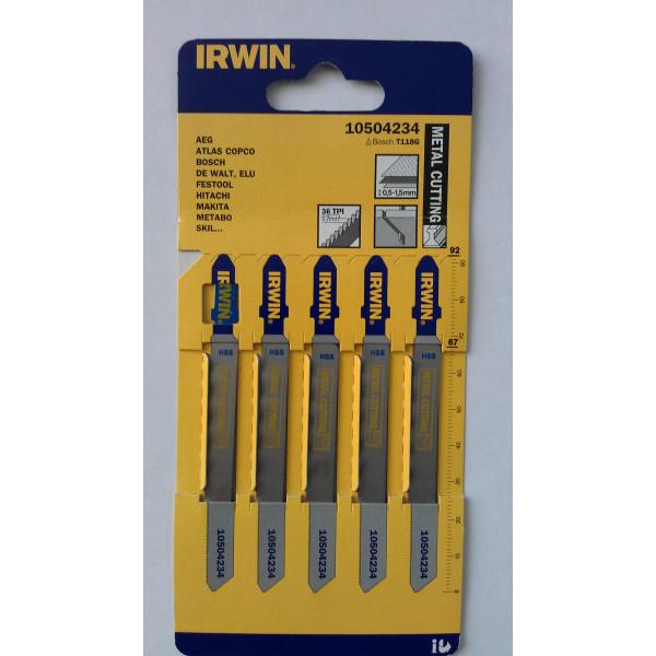 Пилка для лобзика по металлу IRWIN BJSB, 5шт T118G  — Инсел