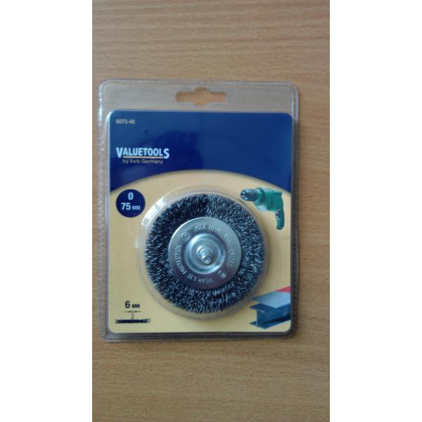 Щетка дисковая 75 мм, жесткая, Valuetools  — Инсел