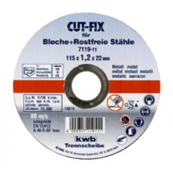Диск отрезной по металлу 115х1,2х22, KWB - Инсел