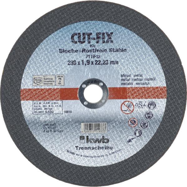 Диск отрезной по металлу 230х1,9х22, KWB - Инсел