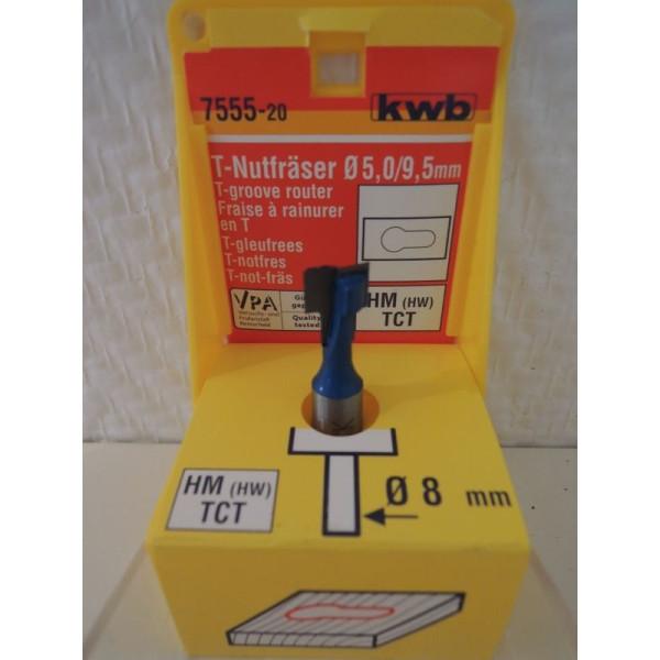 Фреза пазовая Т-подобная HM 5/9,5мм, KWB, 7555-20 - Инсел