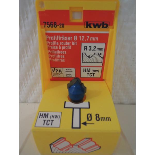 Фреза профильная НМ 12,7мм R3,2, KWB, 7568-20 - Инсел