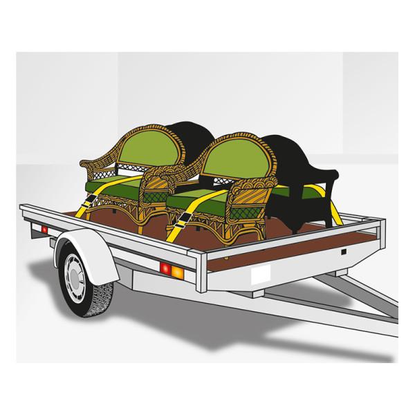 Ремень стяжной с натяжным храповиком и двумя концевиками 500 кг, 5м х 25мм, 2шт, KWB  — Инсел