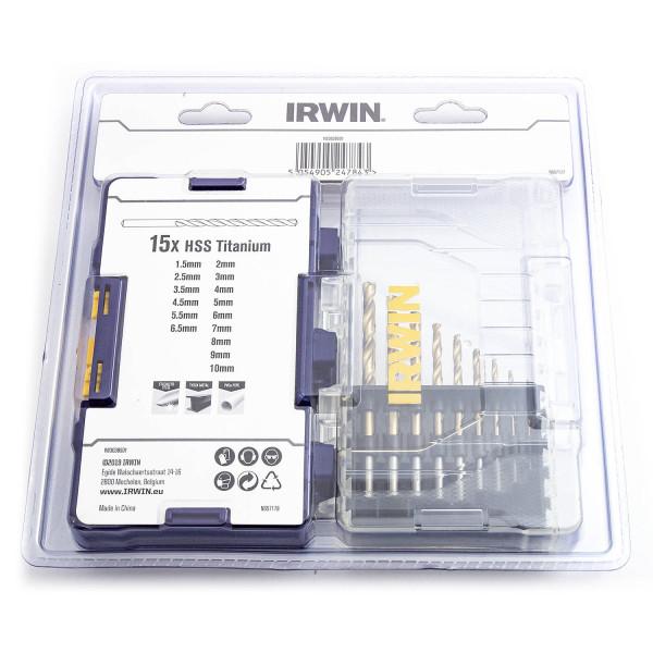Набор свёрл HSS-Pro TIN 15 шт., IRWIN  — Инсел