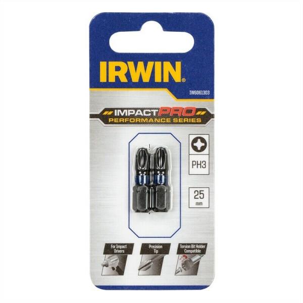 Бита IMPACT PRO PERF 25мм PH3 2шт, IRWIN - Инсел
